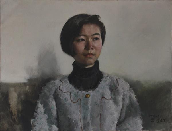 高一呼 《大学生》 布面油画 52x67cm 1993年