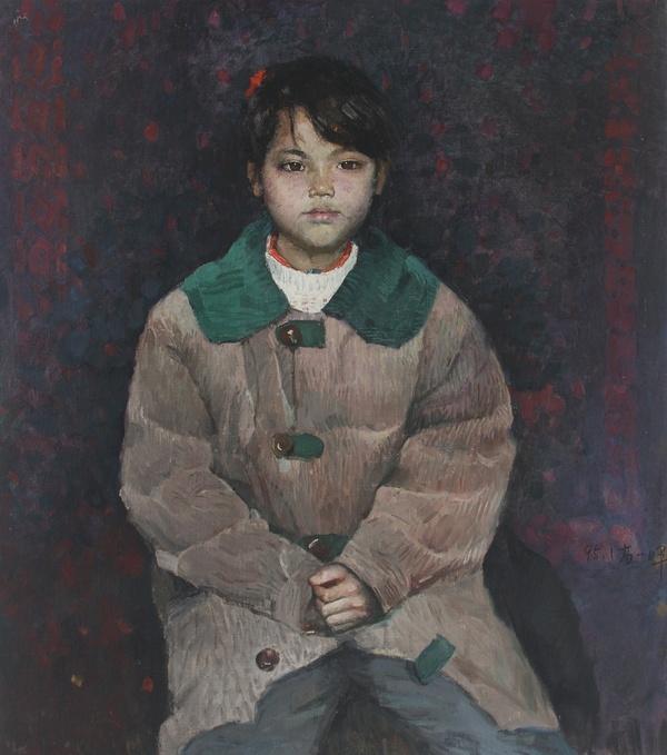 高一呼 《小学生》 布面油画 70x79.5cm 1995年
