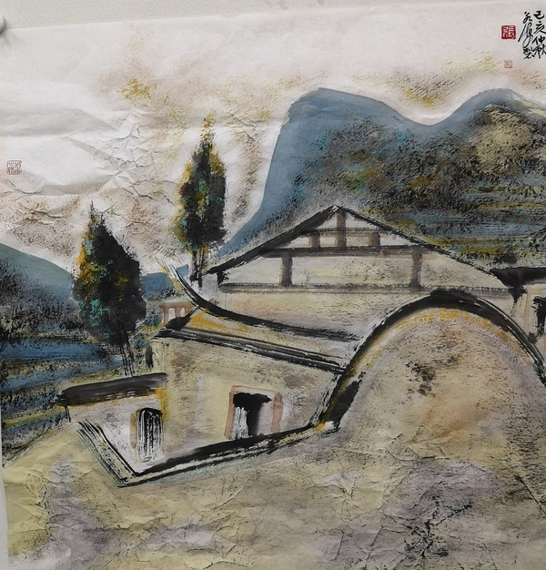 张永海《⼩村之梦》  68Ⅹ68cm 2019